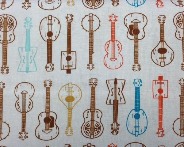 Beige-Guitars-100-cotton-fabric-by-the-half-metre-263283009570