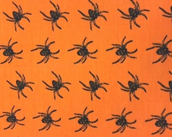 Halloween-Polycotton-Black-Spiders-on-Orange-fabric-by-the-half-metre-263422418140