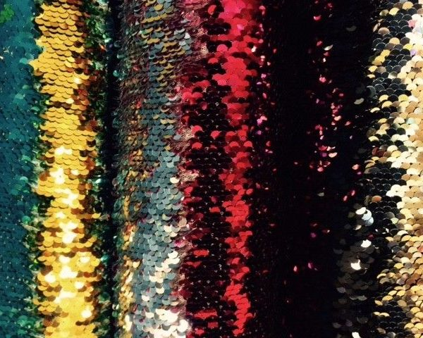 Double-coloured-sequin-fabric-Black-Pink-or-Blue-by-the-half-metre-253246854561
