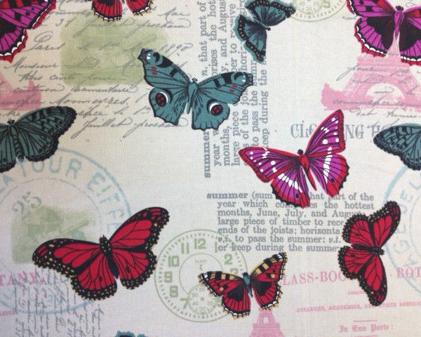 Heavy-Weight-100-Cotton-Butterflies-fabric-by-the-half-metre-263283009571