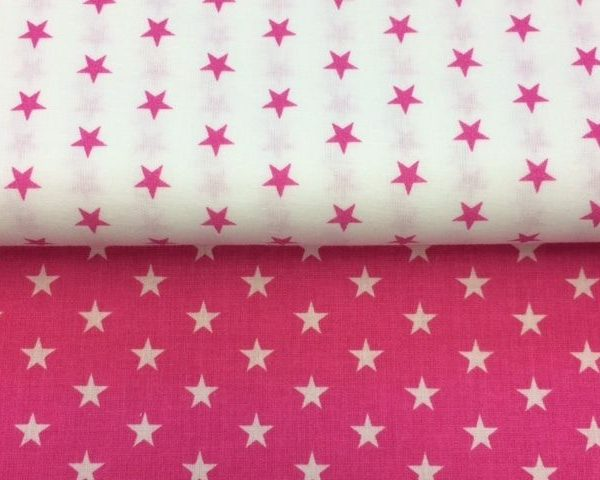 Pink-and-White-Stars-100-Cotton-fabric-by-the-half-metre-263310622371