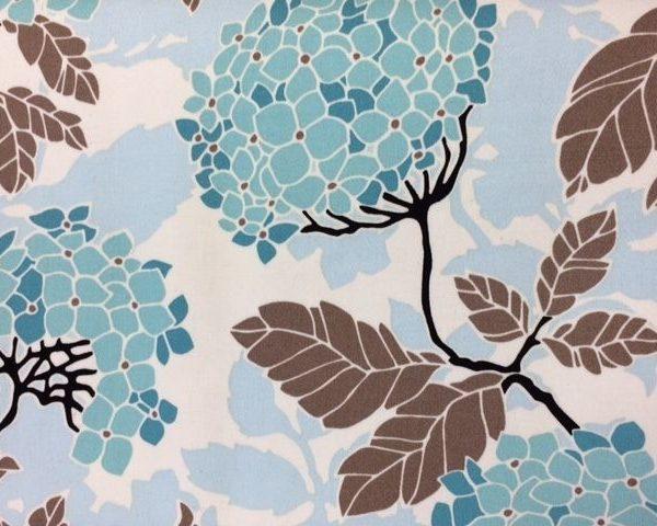 Aqua-Hydrangea-Floral-100-Cotton-fabric-by-the-half-metre-263283009533