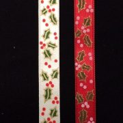 Christmas-Holly-Berry-Satin-Ribbon-Cream-or-Red-by-the-metre-253350291133