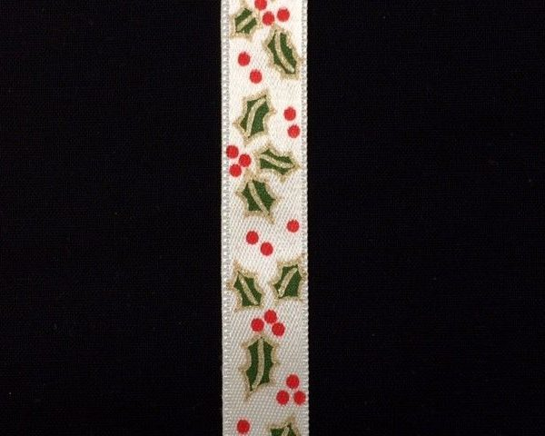 Variation-of-Christmas-Holly-Berry-Satin-Ribbon-Cream-or-Red-by-the-metre-253350291133-3451
