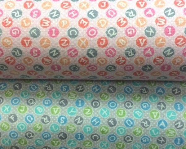 My-Little-Sunshine-Letter-Tiles-Blue-or-Pink-100-Cotton-fabric-by-the-half-me-263425451787