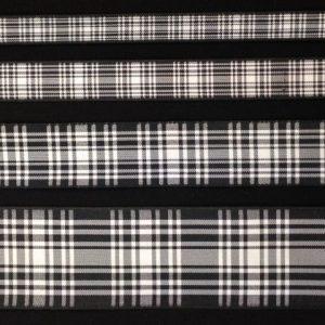 5Mtrs Green Black or Red Tartan Ribbon 25mm Wide