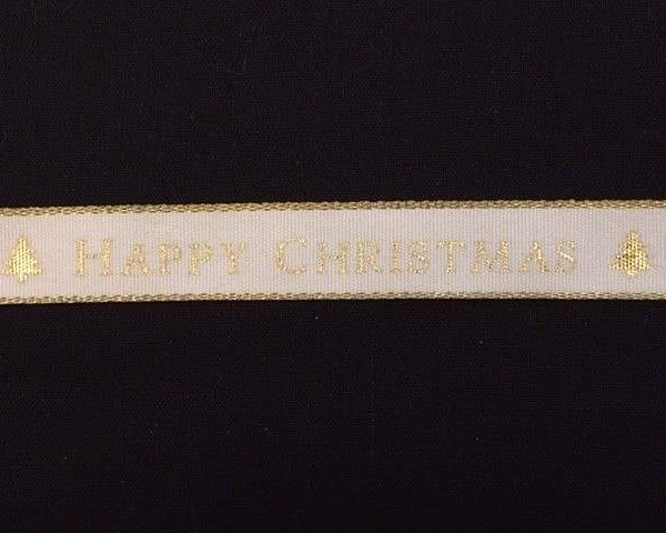 Happy-Christmas-Gold-Edged-Twill-Ribbon-15mm-width-by-the-metre-263422418139